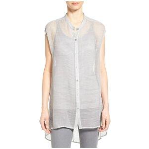 Make Offer Eileen Fisher Linen Mesh Tunic Top